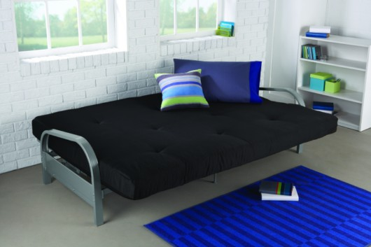 Stylish And Contemporary Metal Frame Futon Sofa Bed In Silver Finish Converts Quicly Easily Into A Full Size Sleeper 6 Inch Black Cotton Twill