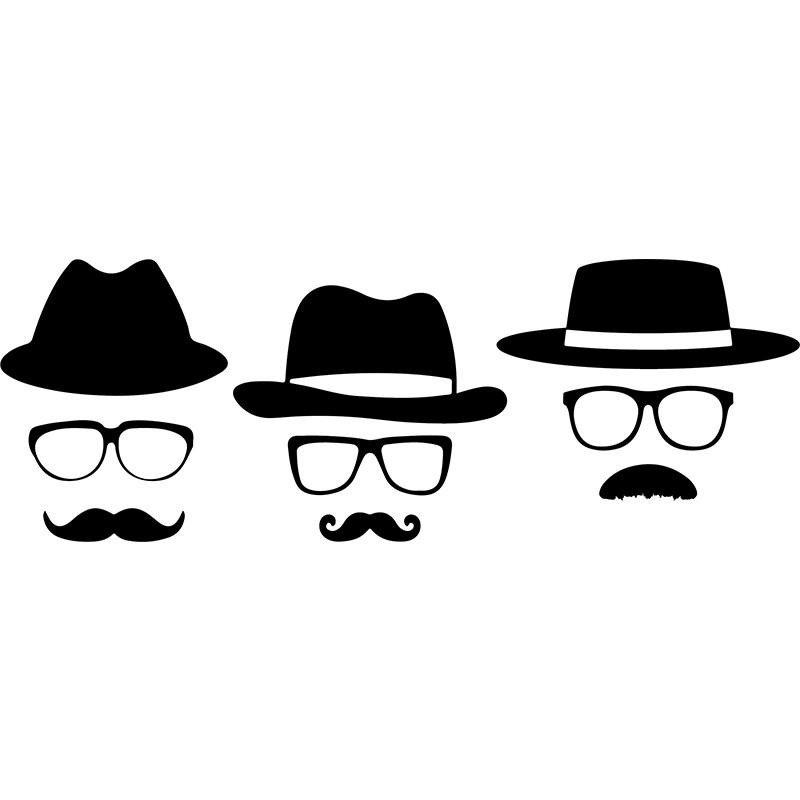 Sticker Chapeaux lunettes et moustaches