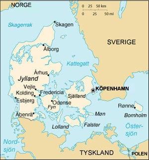 Karta över Danmark