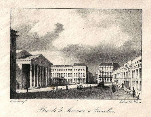 Period engraving of the Théâtre Royal de la Monnaie, 1820