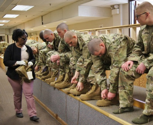 army recruits are issued boots in basic training