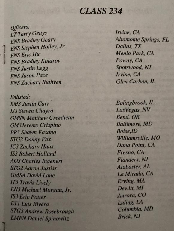 buds class 234 graduation list