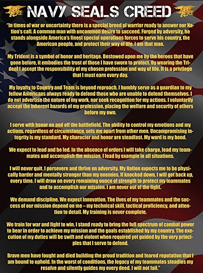 Navy SEAL Creed / Ethos / Mottos: A Collection Of 5 SEAL Quotes