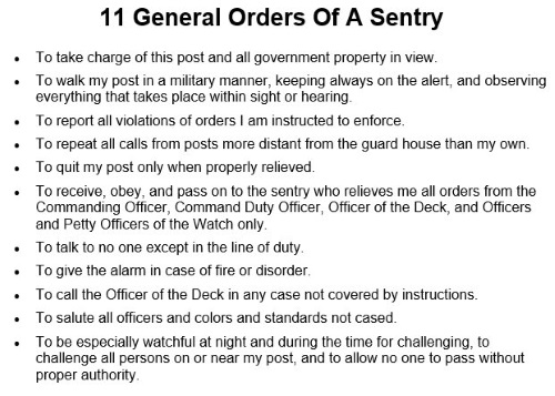 11 general orders of a sentry