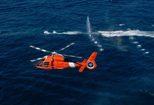 Coast Guard helicopter conducting a drug interdiction mission