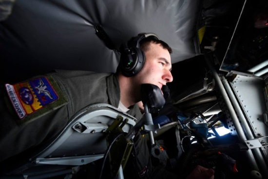 an in flight refueling specialist at work