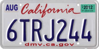 sample license plate