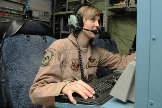 an Airborne Cryptologic Language Analyst at work