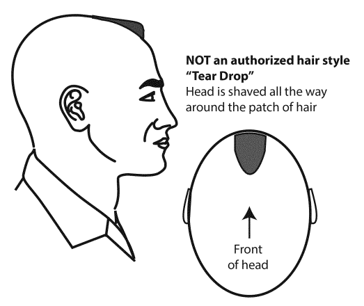 tear drop hairstyle is prohibited in the army
