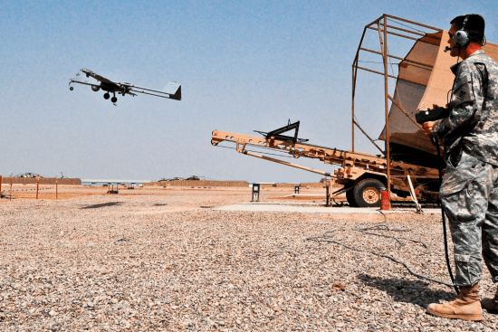 an Tactical Unmanned Aerial Vehicle Operator at work