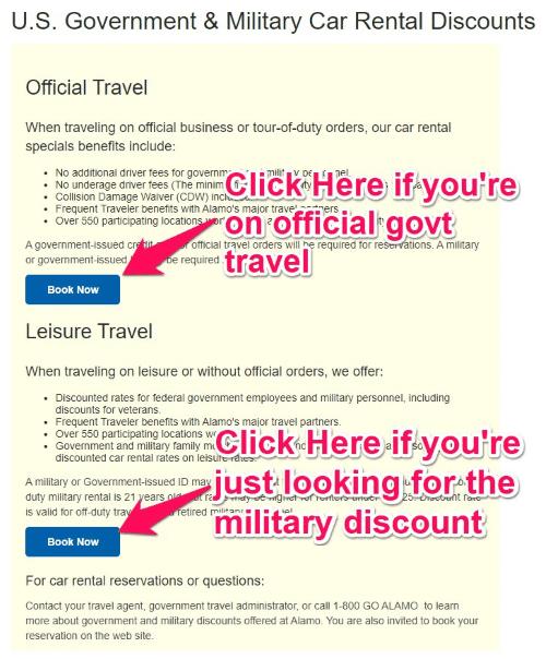 alamo military discount