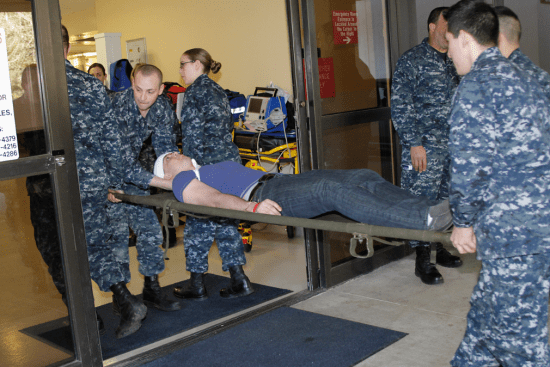 an Hospital Corpsman at work
