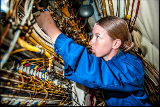 an Aviation Electrician's Mate at work