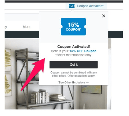 overstock activated coupon code