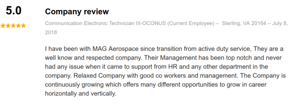 mag aerospace review on indeed