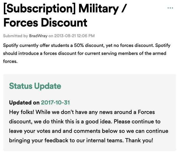 Spotify Military Discount Forum
