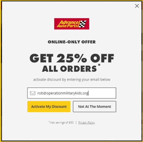advance auto parts email newsletter signup discount