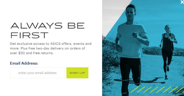 asics email signup form