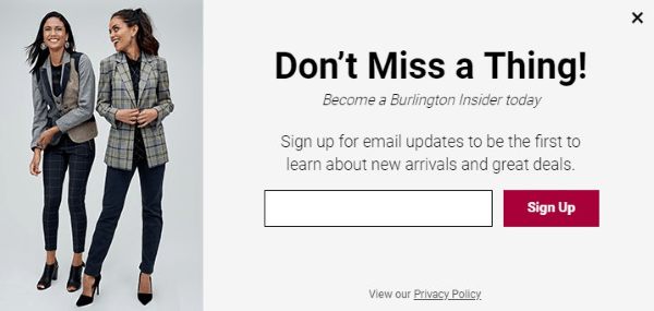 burlington coat factory newsletter signup