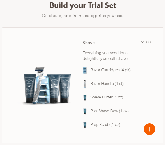 dollar shave club - build your trial set