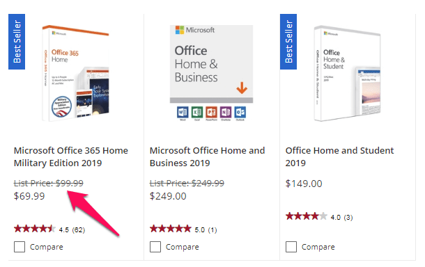 office 365 military discount