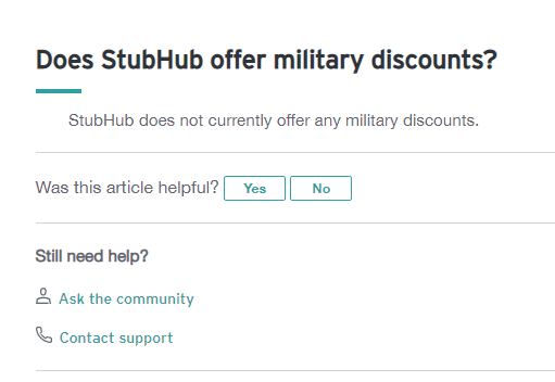 stubhub military discount on q and a page