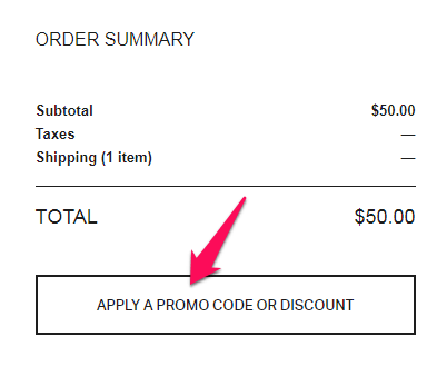 under armour discount or coupon code button