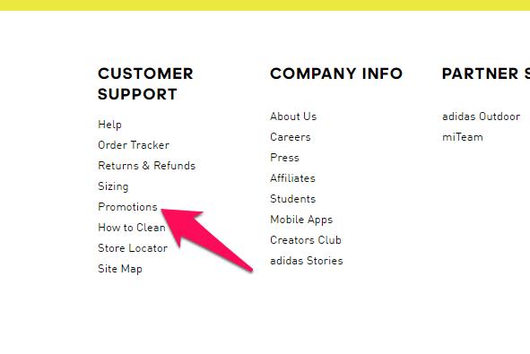adidas promotions