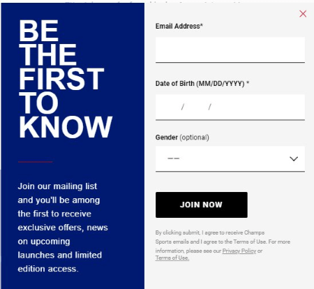 champs sports email signup