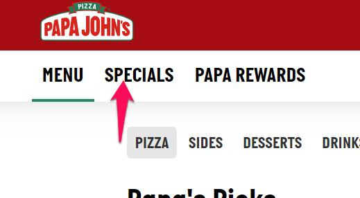 papa john's specials