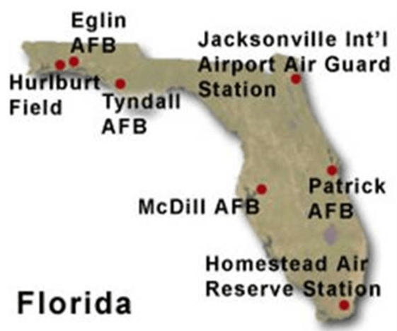 tyndall afb florida map Air Force Bases In Florida A List Of All 6 Bases In Fl