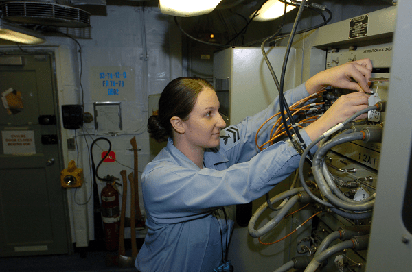 Navy CTT Inspects a Power Supply Unit