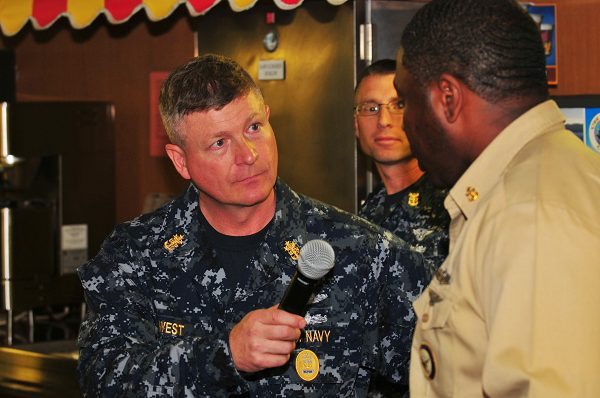 Master Chief Petty Officer of the Navy speaks with Chief Navy Career Counselor