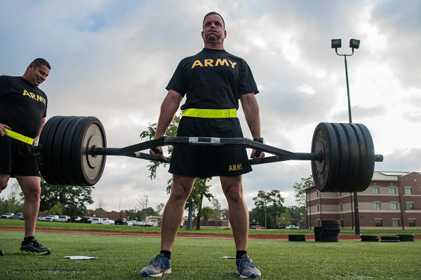 Soldier Performs Deadlift for the Army Combat Fitness Test (ACFT)