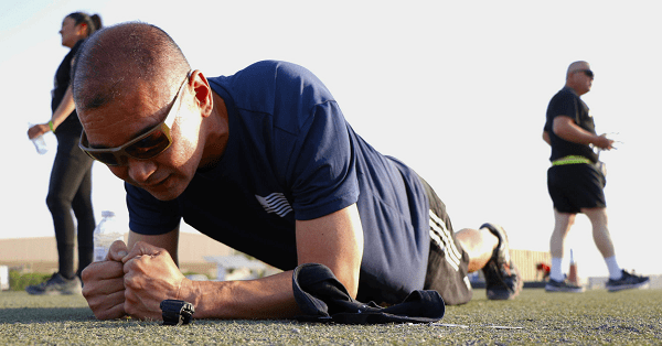 Soldier holding the plank position in workout