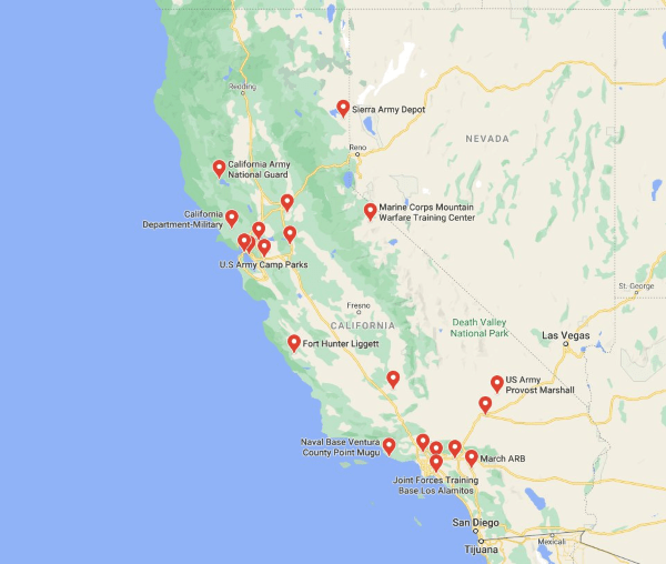 army bases in california