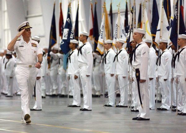 navy sailors at boot camp graduation