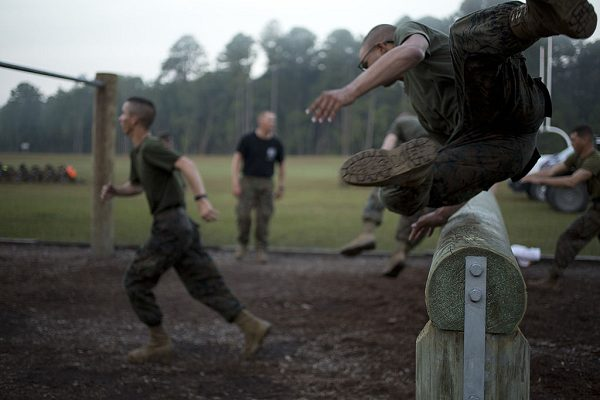 Marines during obstacle course with the Infantry Training Battalion
