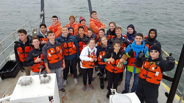 Students with Marine Academy of Science and Technology one of the military schools in New Jersey