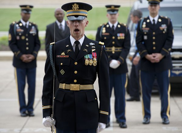 A U.S. Army captain positions a military honor guard to welcome Australian Defense Minister Stephen Smith to the Pentagon
