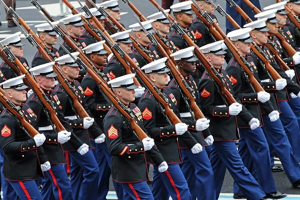 Marines of the U.S. Marine Corps Honor Guard march down Pennsylvania Avenue during the 58th Presidential Inauguration in Washington, D.C.