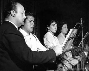 Tito Gobbi, Giuseppe Di Stefano, Maria Callas, Adriana Lazzarini Durante