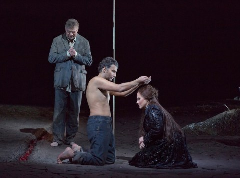 René Pape as Gurnemanz, Jonas Kaufmann as the title character, and Katarina Dalayman as Kundry in the Metropolitan Opera production of Wagner's Parsifal. Photo: Ken Howard