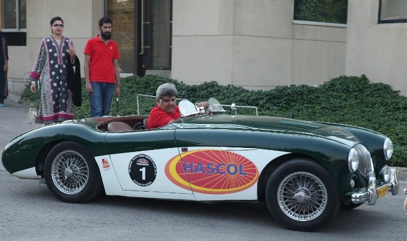 President of Vintage and Classic Car Club of Pakistan, Mohsin Ikram driving into Lahore Vintage Car Show