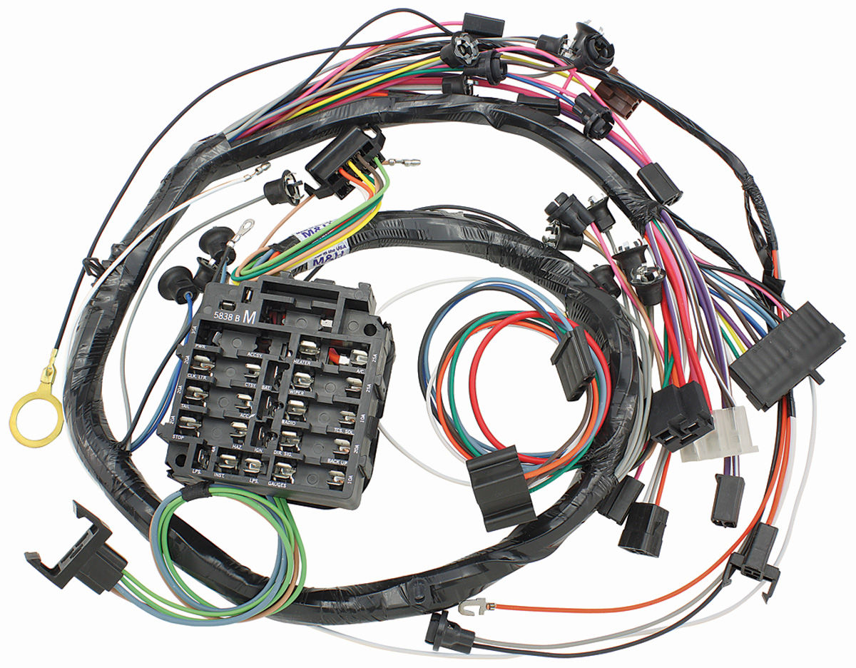 hight resolution of m h chevelle dash instrument panel harness w warning lights a c fuse box chevelle guages