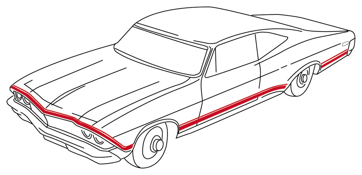 1968 Body Stripe Decals, 1968 Super Sport Chevelle Red, by