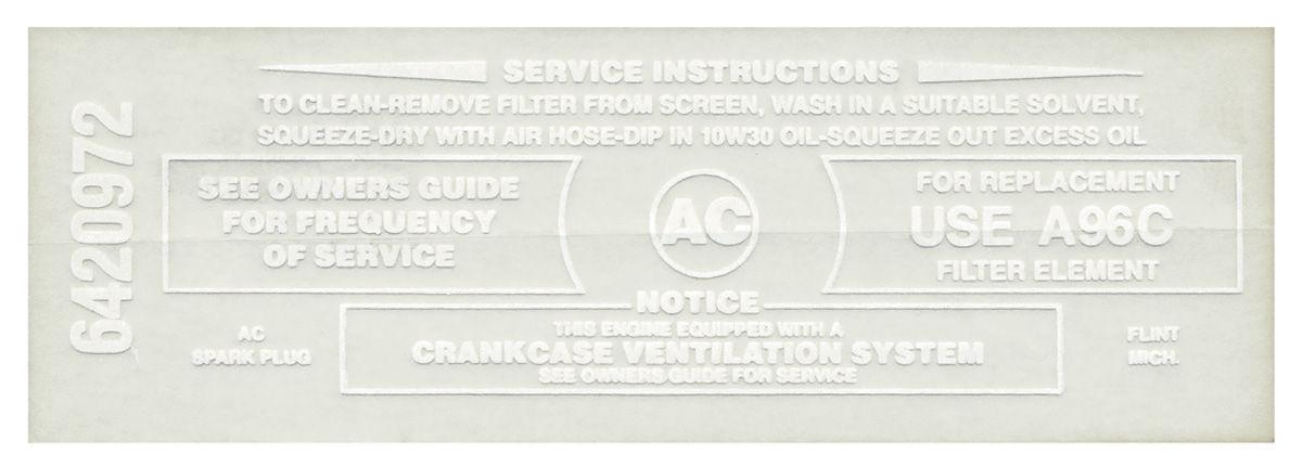 Decal, 65-66 Pontiac, Air Cleaner, 389, 421, 428, A96C, White