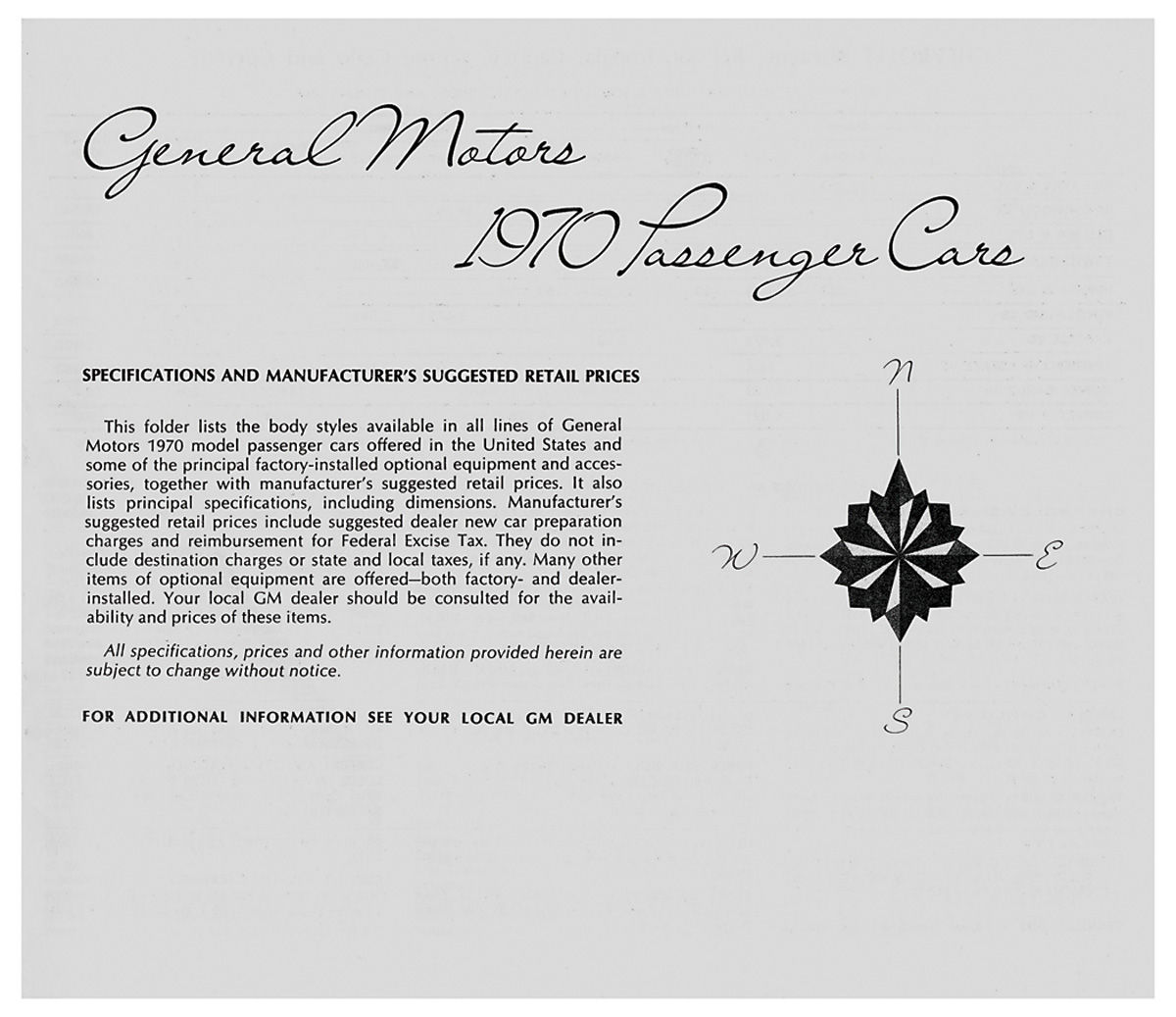 Price List, 1970 GM All, MSRP @ OPGI.com