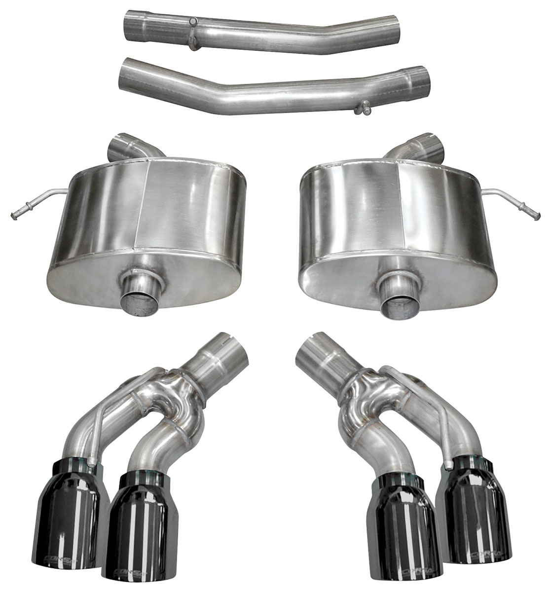 exhaust system corsa extreme axle back 2 75 dual rear exit twin 4 tips black select