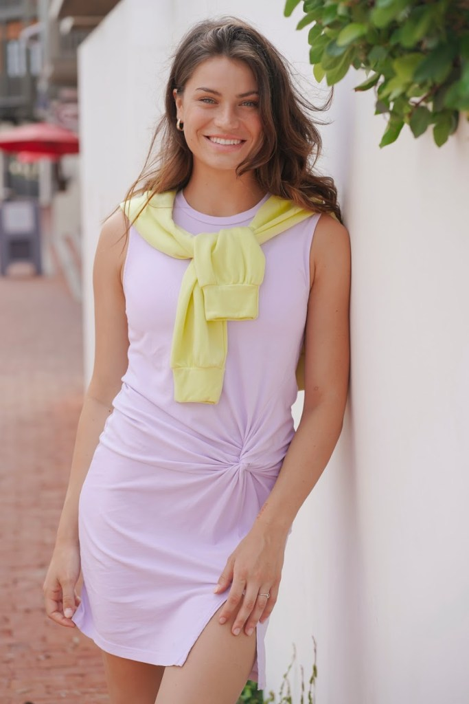 Stateside Side Twist Tank dress Lilac muscle shoulder sleeveless flattering front slip mini crew neck light purple lavender summer spring front